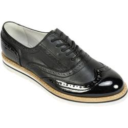 Women's White Mountain Tanner Wingtip Oxford Black Smooth Nappa Patent Polyurethane