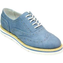 Women's White Mountain Tanner Wingtip Oxford Blue Wash Nubuck Polyurethane