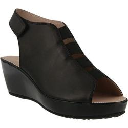 Women's Spring Step Connie Wedge Sandal Black Leather