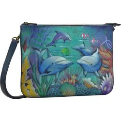 Women's Anuschka Hand Painted Triple Compartment Crossbody Dolphin World