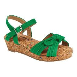 Girls' Hanna Andersson Cathrin Quarter Strap Wedge Sandal Tall Grass Green Denim