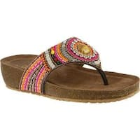 Women's Azura Anarosa Embellished Thong Sandal Brown Multi Leather
