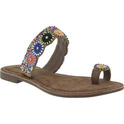 Women's Azura Glint Beaded Toe Ring Sandal Taupe Multi Leather