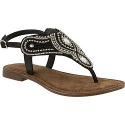 Women's Azura Kaisha Beaded Thong Sandal Black Multi Leather