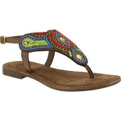 Women's Azura Kaisha Beaded Thong Sandal Taupe Multi Leather