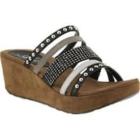 Women's Azura Oletha Ornamented Slide Sandal Black Multi Leather