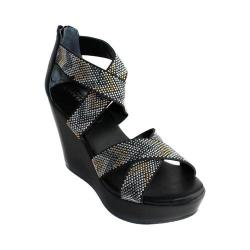 Women's Charles by Charles David Fani Platform Wedge Sandal Black Elastic/Smooth