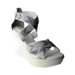 Women's Charles by Charles David Fani Platform Wedge Sandal Clarity Chevron Elastic/Smooth