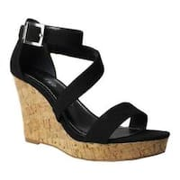 Women's Charles by Charles David Leanna Platform Wedge Sandal Black Microsuede