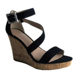 Women's Charles by Charles David Leanna Platform Wedge Sandal Navy Microsuede