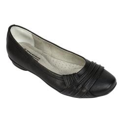 Women's Cliffs by White Mountain Halfrida Ballet Flat Black Burnished Smooth Polyurethane