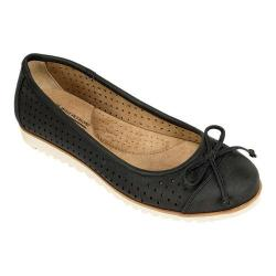 Women's Cliffs by White Mountain Shera Perforated Ballet Flat Black Fabric