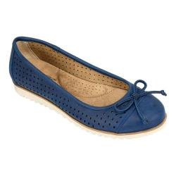 Women's Cliffs by White Mountain Shera Perforated Ballet Flat Navy Fabric