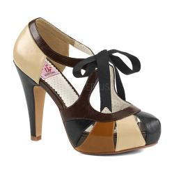 Women's Pin Up Bettie 19 Tie Front Pump Tan Multi Faux Leather