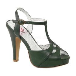Women's Pin Up Bettie 23 T Strap Peep Toe Pump Forest Green Faux Leather