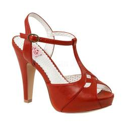 Women's Pin Up Bettie 23 T Strap Peep Toe Pump Red Faux Leather