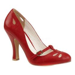 Women's Pin Up Smitten 20 Mary Jane Pump Red Faux Leather