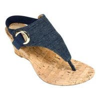 Women's White Mountain Aida Thong Wedge Sandal Dark Denim Fabric