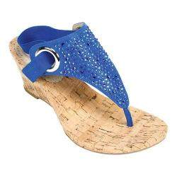 Women's White Mountain Aldon Cork Sandal Blue Metallic Fabric
