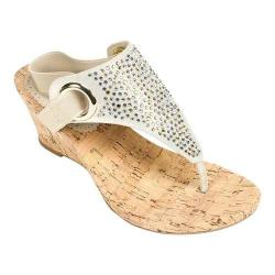 Women's White Mountain Aldon Cork Sandal Gold Metallic Fabric