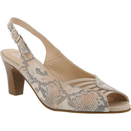 Women's Spring Step Fiorella Peep Toe Slingback Beige Python Leather
