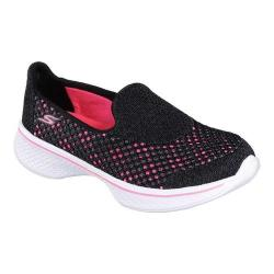 Girls' Skechers GOwalk 4 Kindle Slip-On Walking Shoe Black/Hot Pink