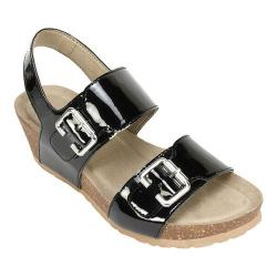 Women's White Mountain Marquel Wedge Ankle Strap Sandal Black Patent Polyurethane