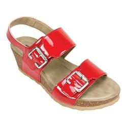 Women's White Mountain Marquel Wedge Ankle Strap Sandal Red Patent Polyurethane
