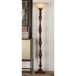 Studio 350 PS Brown Polystone Torchiere with Glass Shade
