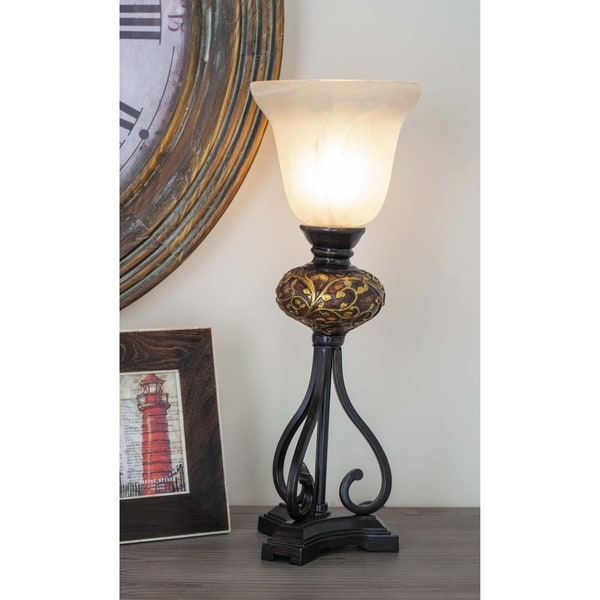 Set of 2 Traditional Polystone Uplight with Glass Shade by Studio 350