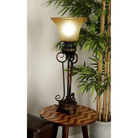 Set of 2 Rustic 30 Inch Polystone and Glass Uplight Lamp by Studio 350