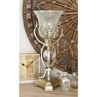 Set of 2 Coastal Iron, Glass and Polystone Uplight Lamps by Studio 350