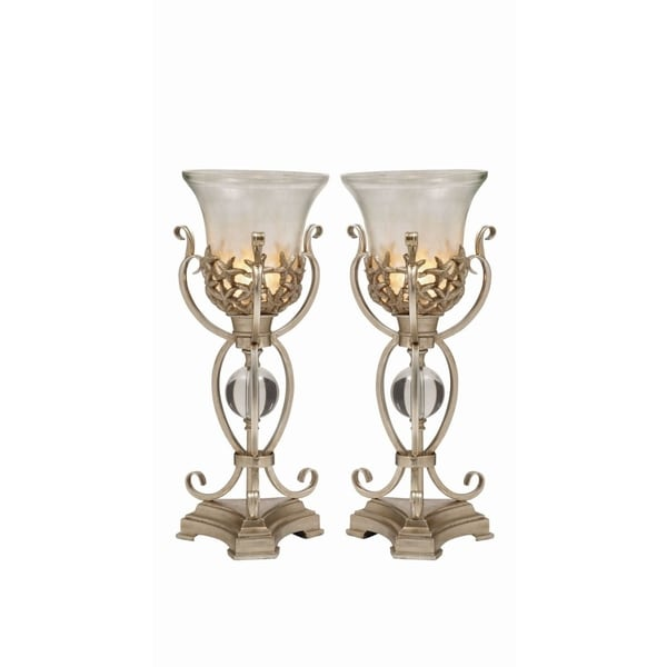 Studio 350 Set of 2, Metal PS Glass Uplight 8 inches wide, 21 inches high