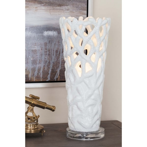 Set of 2 Modern White Polystone Coral Design Uplight by Studio 350