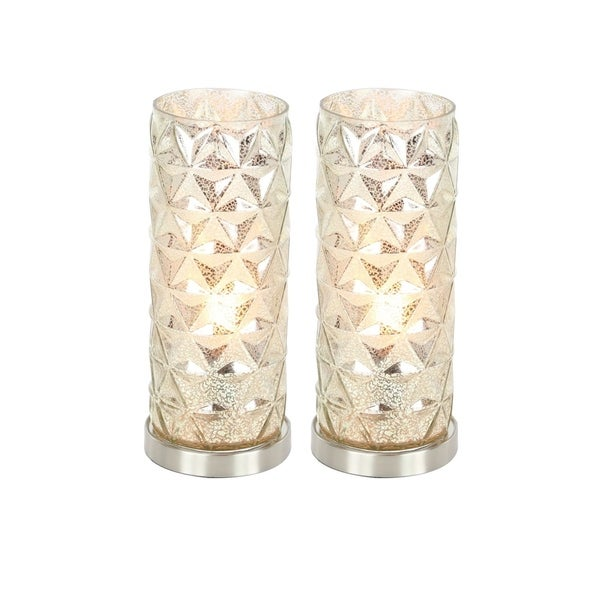 Studio 350 Set of 2, Glass Metal Uplight 15 inches high