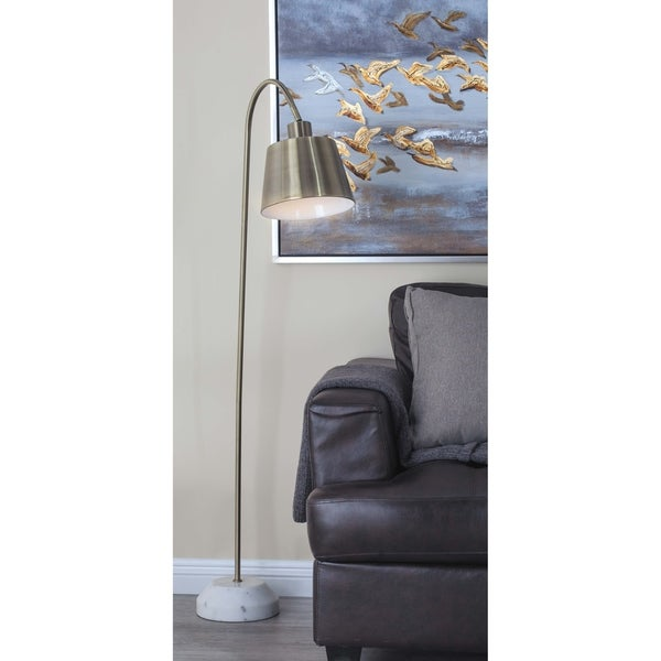Modern 55 Inch Gold Iron and Marble Floor Task Lamp by Studio 350