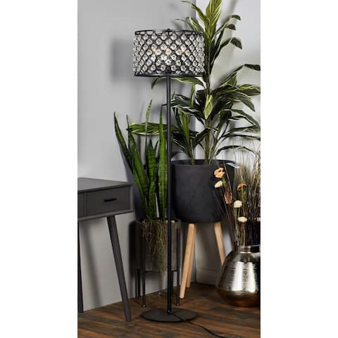 Modern 62 Inch Metal and Glass Crystal Floor Lamp by Studio 350