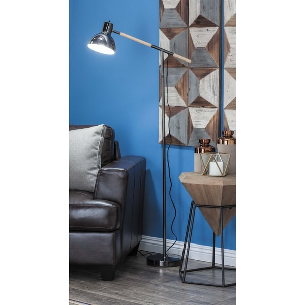 Contemporary 60 Inch Iron and Wood Floor Task Lamp by Studio 350