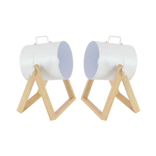 Studio 350 Set of 2, Metal Wood Spot Light 12 inches wide, 12 inches high