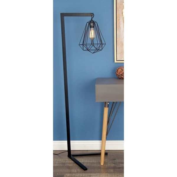 Contemporary 55 Inch Black Iron Geometric Floor Lamp by Studio 350