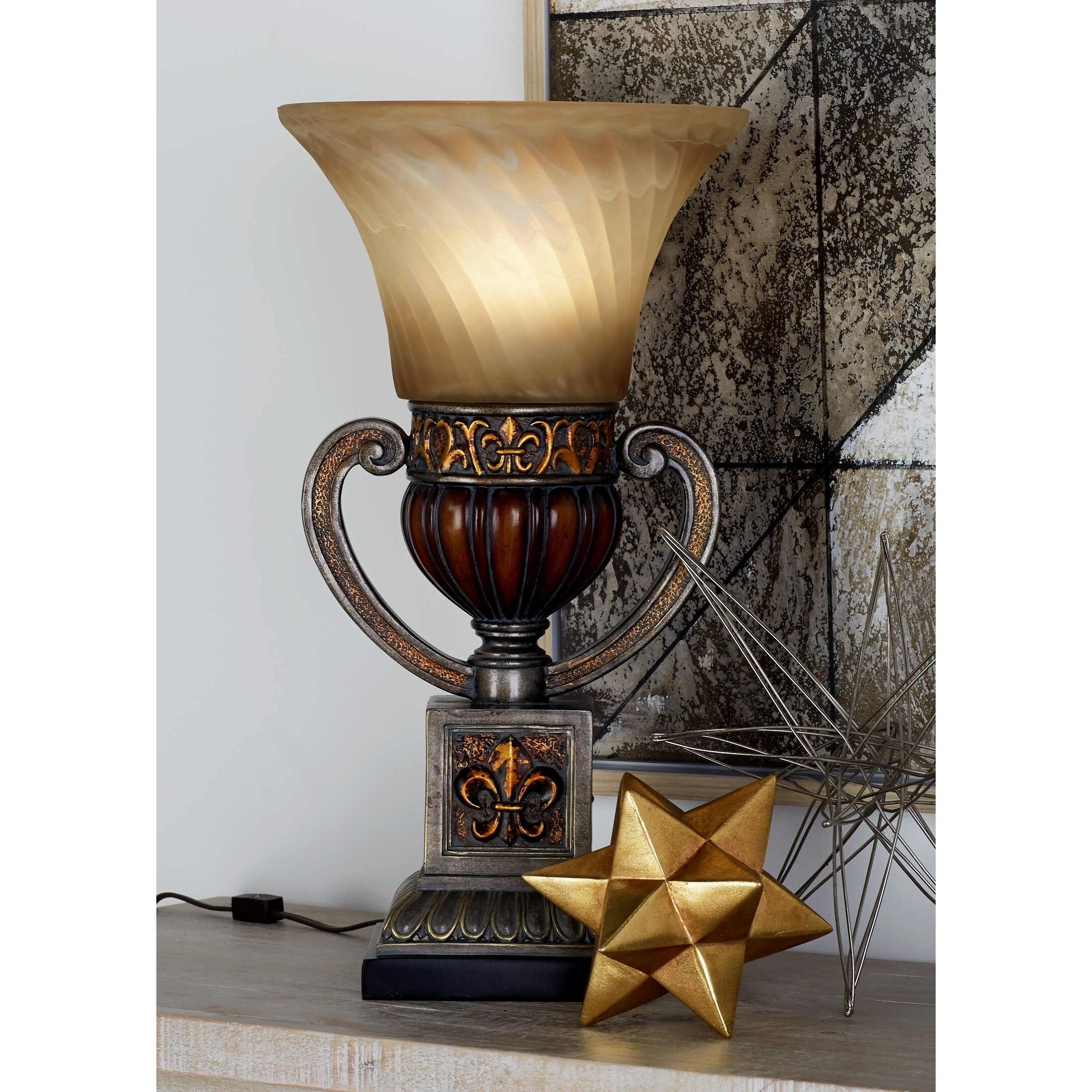 Studio 350 Antique Brown Polystone Uplight with Swirled A...