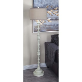 Studio 350 White Floor Lamp with Brown Linen Shade and Polystone Base