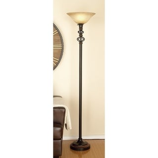 Eclectic 71 Inch Black Metal and Glass Floor Lamp by Studio 350