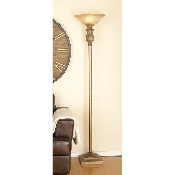 Eclectic 71 Inch Light Brown Metal and Glass Floor Lamp by Studio 350