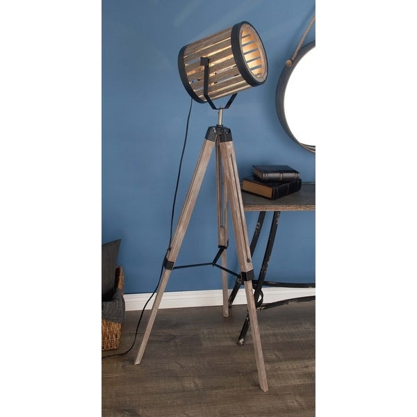 Rustic 62 Inch Iron and Wood Tripod Spotlight Floor Lamp by Studio 350