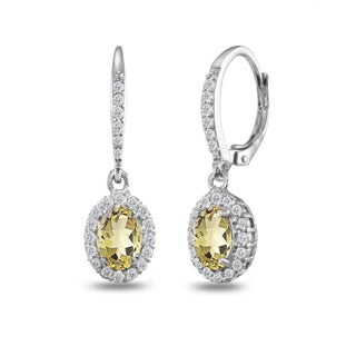 Glitzy Rocks Sterling Silver Amethyst Oval Dangle Halo Leverback Earrings with White Topaz Accents (Option: Yellow - YELLOW - N - Citrine - November)