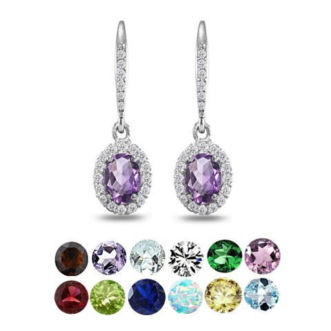 Glitzy Rocks Sterling Silver Amethyst Oval Dangle Halo Leverback Earrings with White Topaz Accents