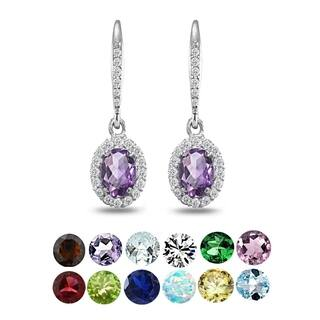 Glitzy Rocks Sterling Silver Amethyst Oval Dangle Halo Leverback Earrings with White Topaz Accents (Option: Green) https://ak1.ostkcdn.com/images/products/17601670/P23819332.jpg?impolicy=medium