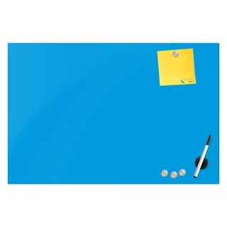 Magnetic Glass Eraser Board 24 by 36 Inches Radius Corners -Light Blue