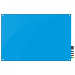 Magnetic Glass Eraser Board 36 by 48 Inches Radius Corners -Light Blue